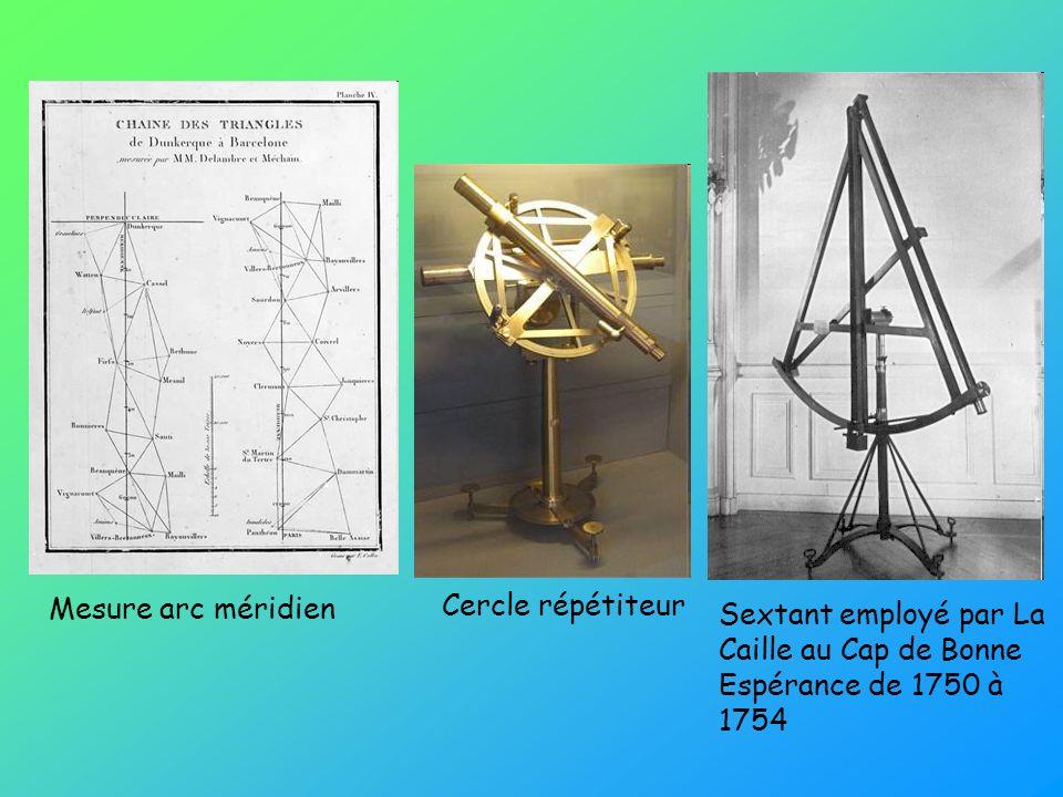 Sextant employé par La Caille au Cap de Bonne Espérance de 1750 à 1754 Cercle répétiteur Mesure arc méridien