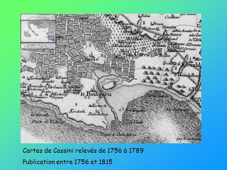 Cartes de Cassini relevés de 1756 à 1789 Publication entre 1756 et 1815