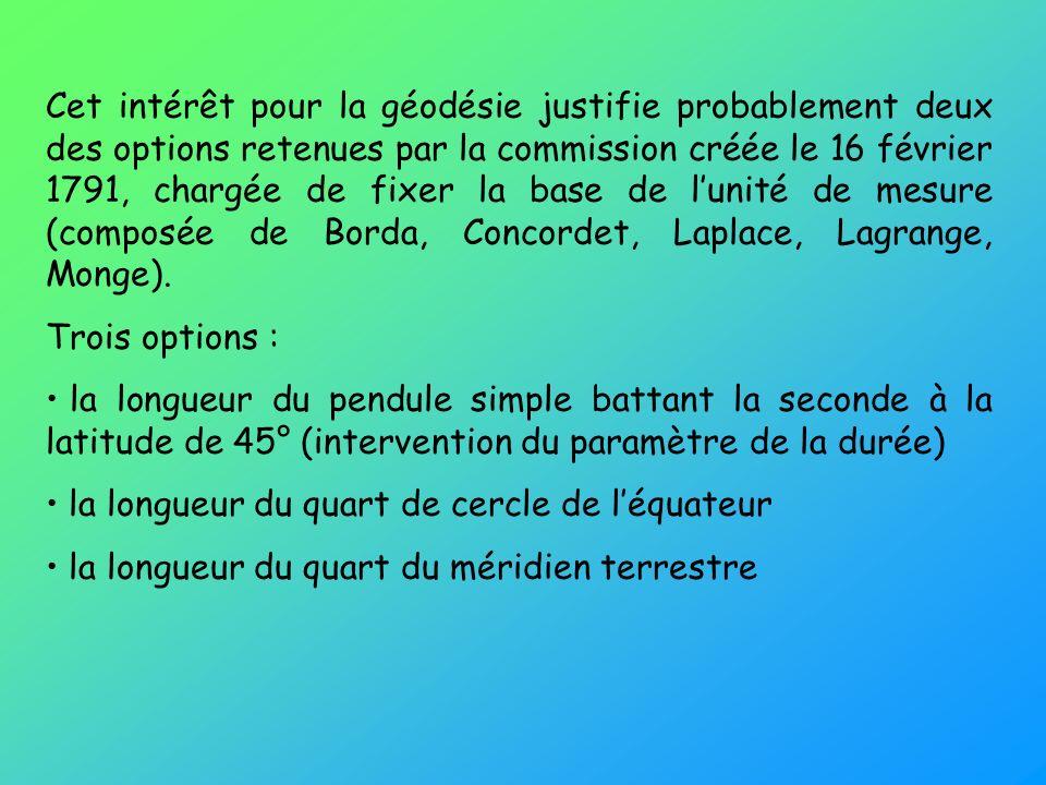 Cet intérêt pour la géodésie justifie probablement deux des options retenues par la commission créée le 16 février 1791, chargée de fixer la base de l