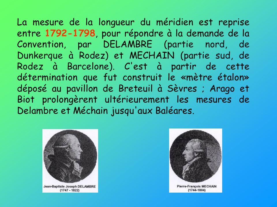 La mesure de la longueur du méridien est reprise entre 1792-1798, pour répondre à la demande de la Convention, par DELAMBRE (partie nord, de Dunkerque