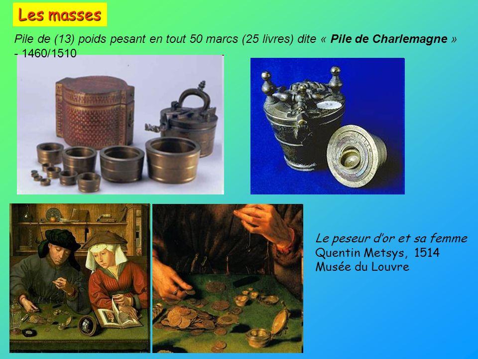Pile de (13) poids pesant en tout 50 marcs (25 livres) dite « Pile de Charlemagne » - 1460/1510 Le peseur dor et sa femme Quentin Metsys, 1514 Musée d
