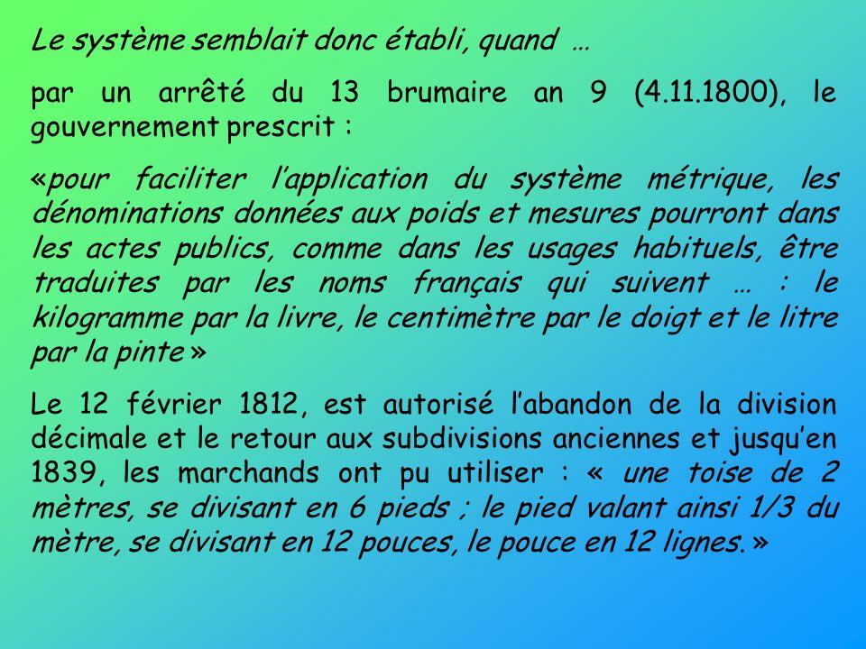Le système semblait donc établi, quand … par un arrêté du 13 brumaire an 9 (4.11.1800), le gouvernement prescrit : «pour faciliter lapplication du sys