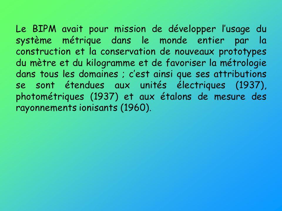Le BIPM avait pour mission de développer lusage du système métrique dans le monde entier par la construction et la conservation de nouveaux prototypes