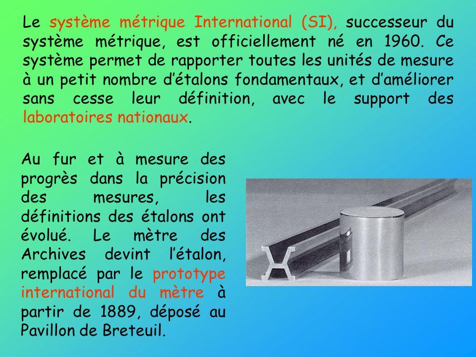 Le système métrique International (SI), successeur du système métrique, est officiellement né en 1960. Ce système permet de rapporter toutes les unité