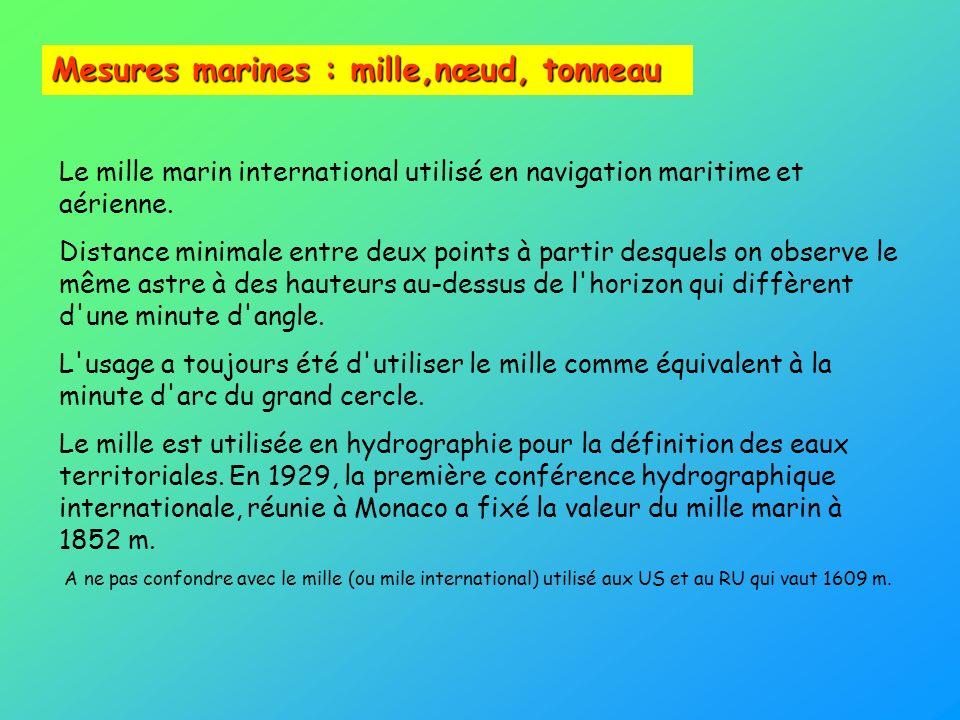 Mesures marines : mille,nœud, tonneau Le mille marin international utilisé en navigation maritime et aérienne. Distance minimale entre deux points à p