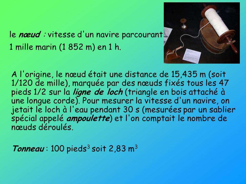 le nœud : vitesse d'un navire parcourant 1 mille marin (1 852 m) en 1 h. A l'origine, le nœud était une distance de 15,435 m (soit 1/120 de mille), ma