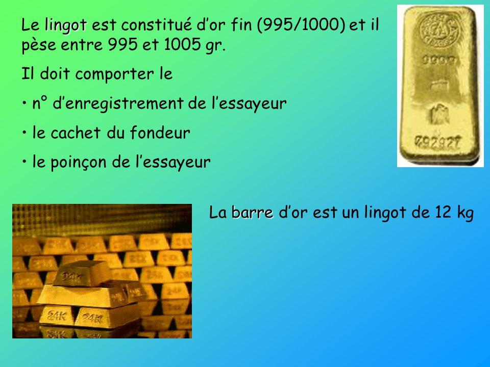 lingot Le lingot est constitué dor fin (995/1000) et il pèse entre 995 et 1005 gr. Il doit comporter le n° denregistrement de lessayeur le cachet du f