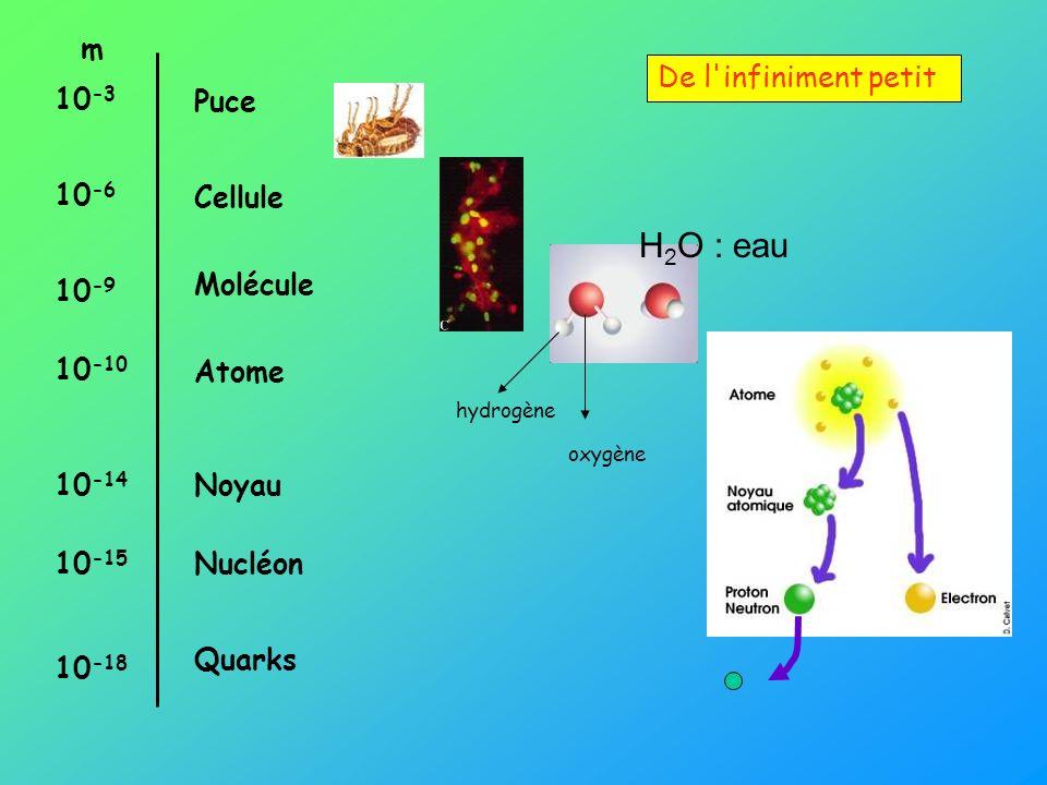De l'infiniment petit m 10 -3 10 -6 10 -9 10 -10 10 -14 10 -15 10 -18 Puce Cellule Molécule Atome Noyau Nucléon Quarks hydrogène oxygène H 2 O : eau