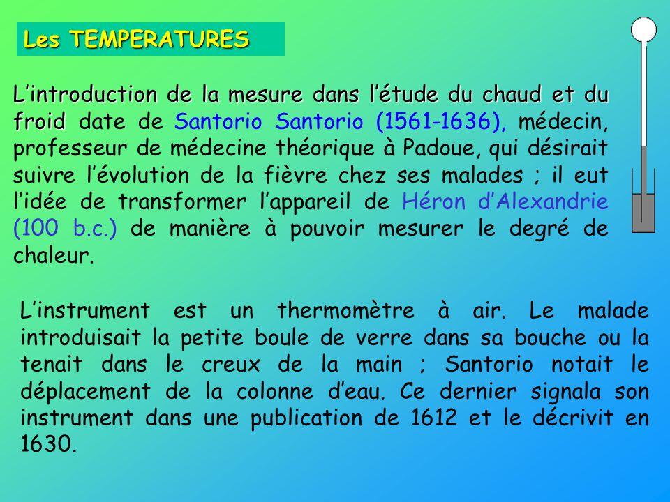Lintroduction de la mesure dans létude du chaud et du froid Lintroduction de la mesure dans létude du chaud et du froid date de Santorio Santorio (156
