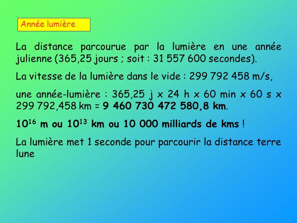 Année lumière La distance parcourue par la lumière en une année julienne (365,25 jours ; soit : 31 557 600 secondes). La vitesse de la lumière dans le