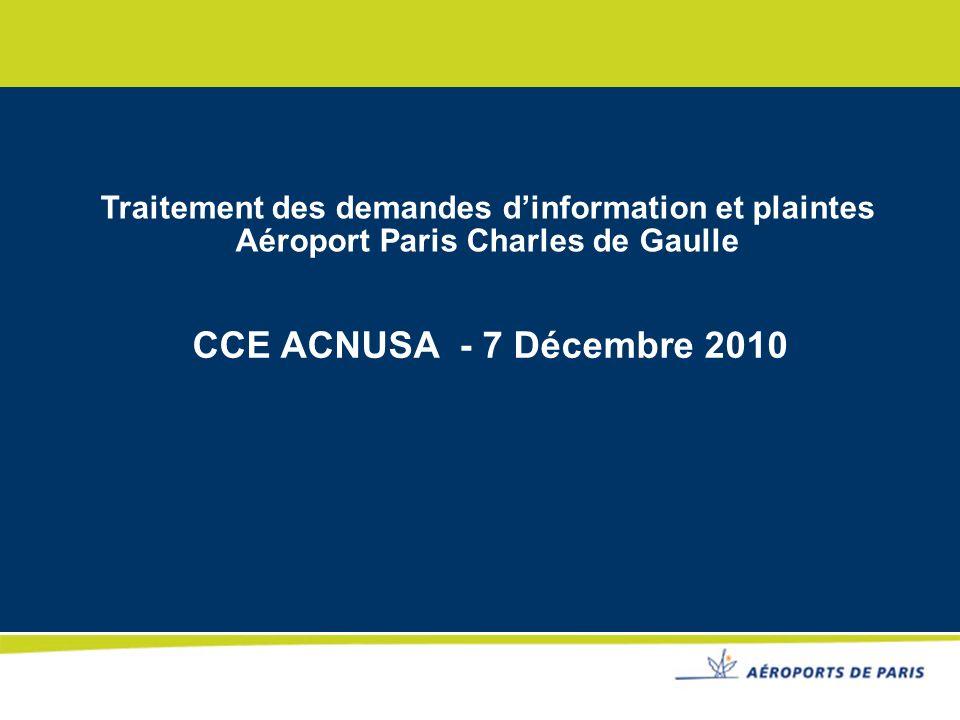 Traitement des demandes dinformation et plaintes Aéroport Paris Charles de Gaulle CCE ACNUSA - 7 Décembre 2010