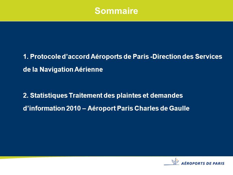 1. Protocole daccord Aéroports de Paris -Direction des Services de la Navigation Aérienne 2. Statistiques Traitement des plaintes et demandes dinforma