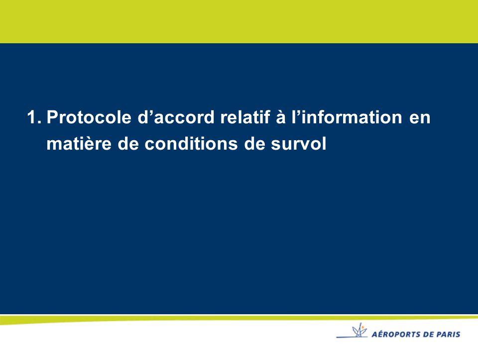 1.Protocole daccord DSNA/ME et Aéroports de Paris Avant 2005 : ADP : Compétence en matière de circulation aérienne en tant quexploitant de laéroport Depuis 2005 ( suite transformation SA de lentreprise ) DGAC : Compétence exclusive en matière de circulation aérienne 1 er protocole daccord signé le 12 octobre 2005.