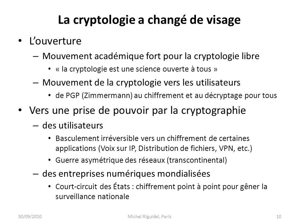 La cryptologie a changé de visage Louverture – Mouvement académique fort pour la cryptologie libre « la cryptologie est une science ouverte à tous » –