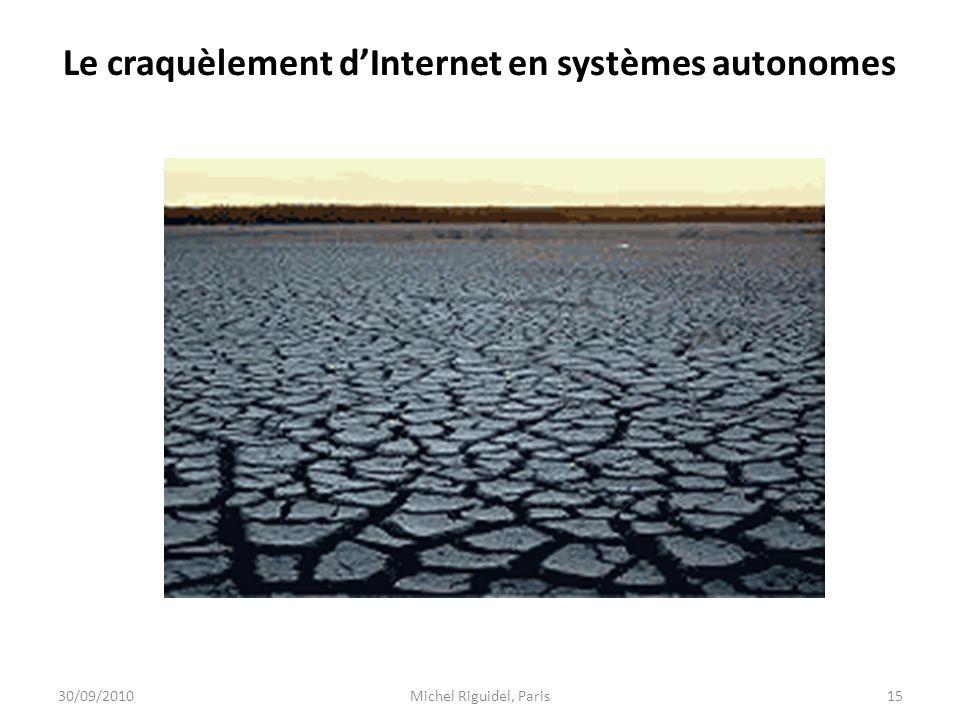 Le craquèlement dInternet en systèmes autonomes 30/09/201015Michel Riguidel, Paris