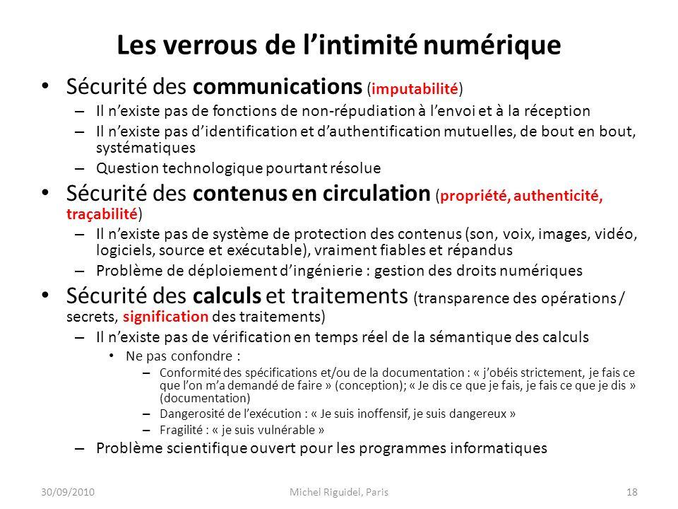 Les verrous de lintimité numérique Sécurité des communications (imputabilité) – Il nexiste pas de fonctions de non-répudiation à lenvoi et à la récept