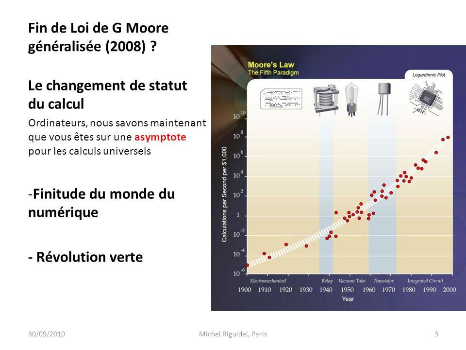 Fin de Loi de G Moore généralisée (2008) ? Le changement de statut du calcul Ordinateurs, nous savons maintenant que vous êtes sur une asymptote pour
