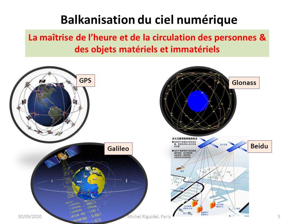 Balkanisation du ciel numérique 30/09/20105Michel Riguidel, Paris GPS Glonass Beidu Galileo La maîtrise de lheure et de la circulation des personnes &