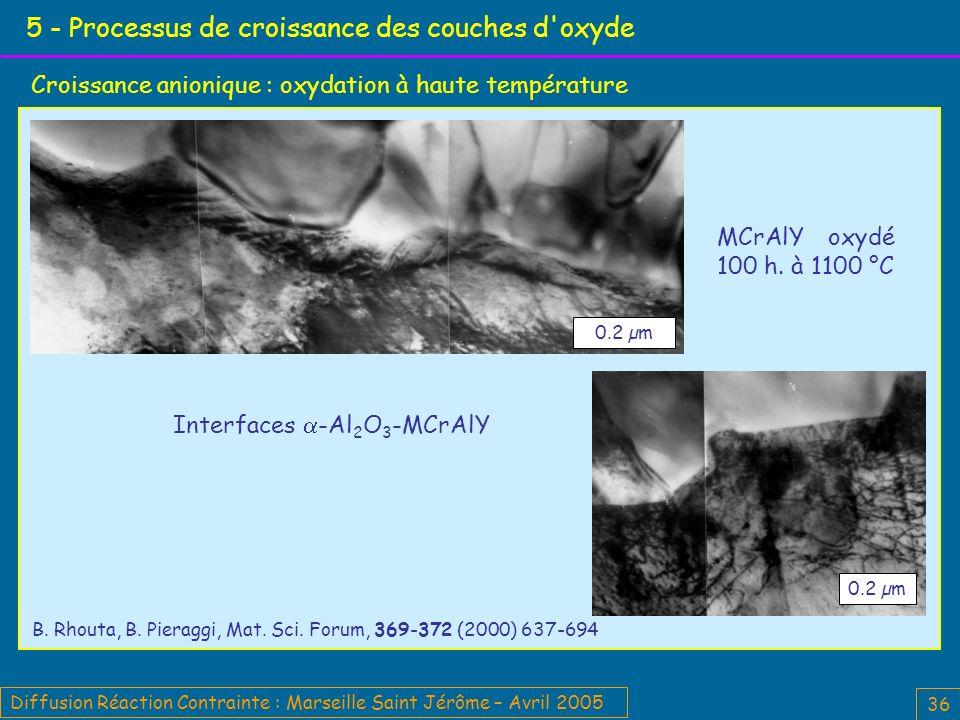 Diffusion Réaction Contrainte : Marseille Saint Jérôme – Avril 2005 36 5 - Processus de croissance des couches d oxyde Croissance anionique : oxydation à haute température Interfaces -Al 2 O 3 -MCrAlY 0.2 µm MCrAlY oxydé 100 h.