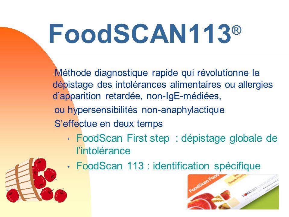FoodSCAN113 ® Méthode diagnostique rapide qui révolutionne le dépistage des intolérances alimentaires ou allergies dapparition retardée, non-IgE-médié