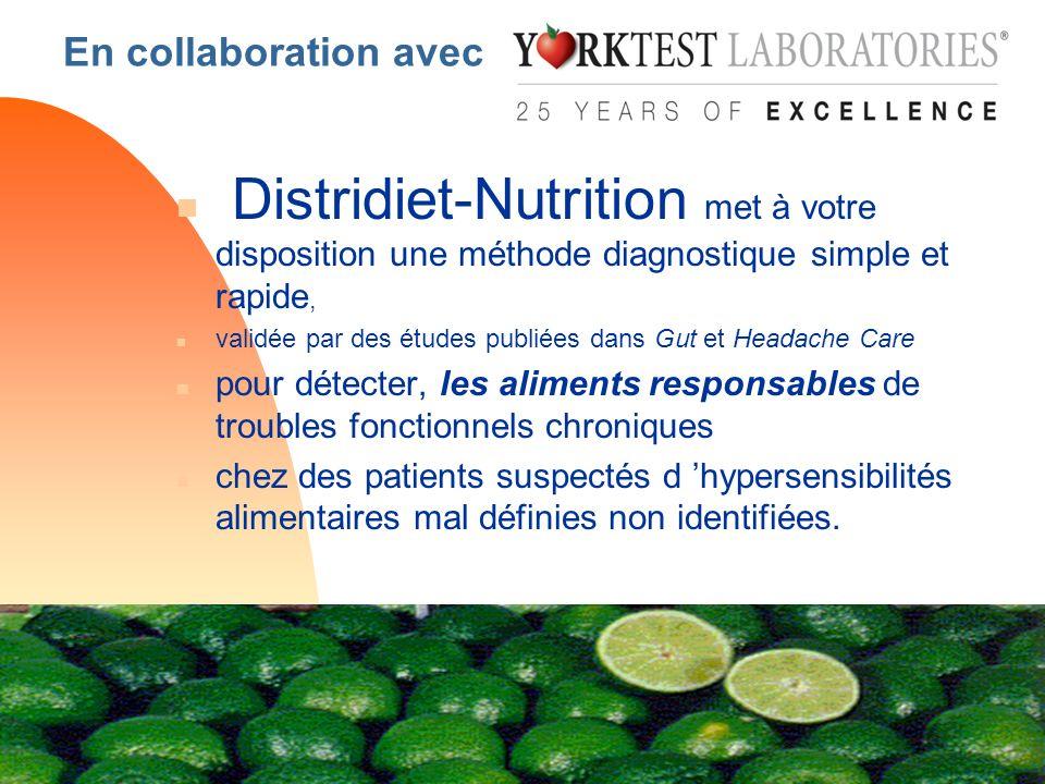 En collaboration avec n Distridiet-Nutrition met à votre disposition une méthode diagnostique simple et rapide, n validée par des études publiées dans