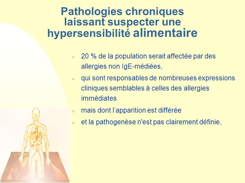 Pathologies chroniques laissant suspecter une hypersensibilité alimentaire n 20 % de la population serait affectée par des allergies non IgE-médiées,