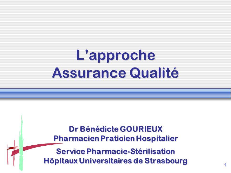 1 Lapproche Assurance Qualité Dr Bénédicte GOURIEUX Pharmacien Praticien Hospitalier Service Pharmacie-Stérilisation Hôpitaux Universitaires de Strasb