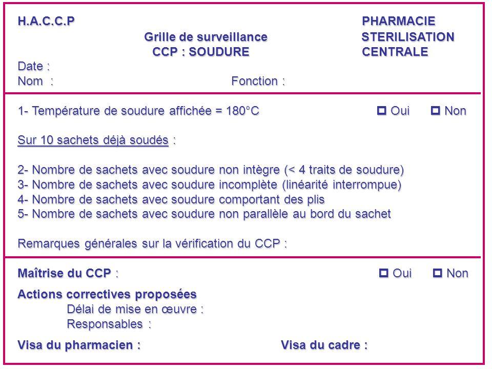 H.A.C.C.PPHARMACIE Grille de surveillance STERILISATION CCP : SOUDURE CENTRALE CCP : SOUDURE CENTRALEDate : Nom : Fonction : 1- Température de soudure