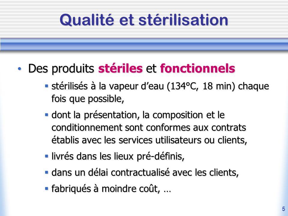 5 Qualité et stérilisation Des produits stériles et fonctionnels Des produits stériles et fonctionnels stérilisés à la vapeur deau (134°C, 18 min) cha