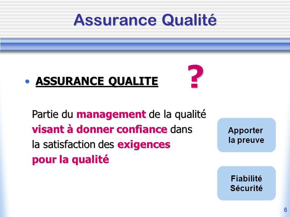 6 Assurance Qualité ASSURANCE QUALITEASSURANCE QUALITE ? Partie du management de la qualité visant à donner confiance dans la satisfaction des exigenc