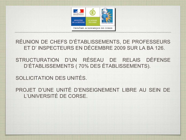 RÉUNION DE CHEFS DÉTABLISSEMENTS, DE PROFESSEURS ET D INSPECTEURS EN DÉCEMBRE 2009 SUR LA BA 126.