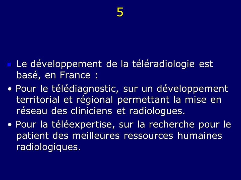 5 Le développement de la téléradiologie est basé, en France : Le développement de la téléradiologie est basé, en France : Pour le télédiagnostic, sur