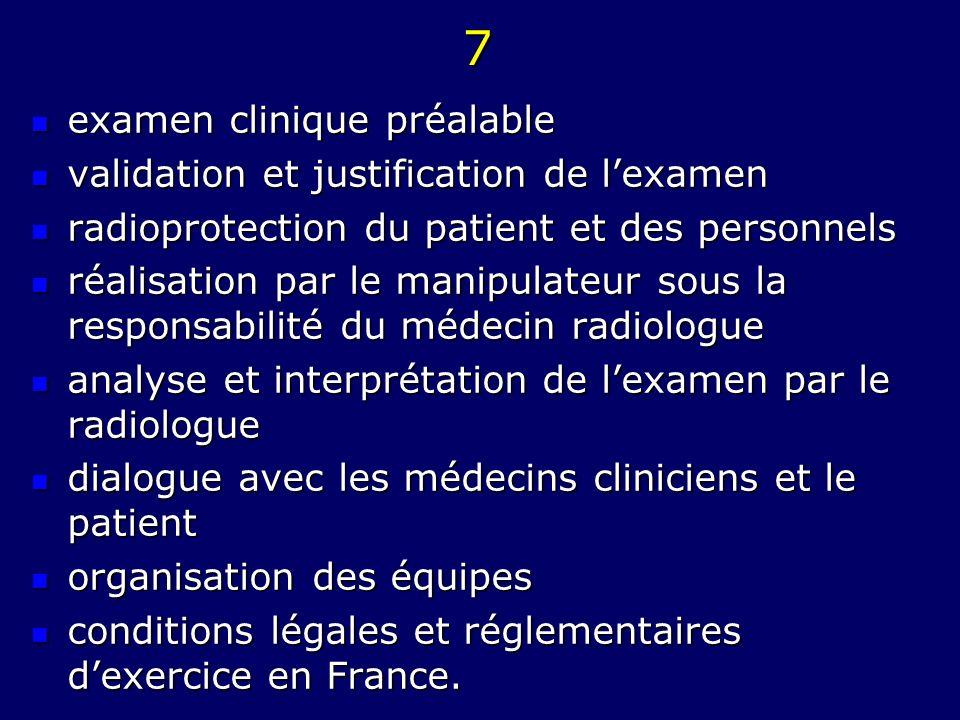7 examen clinique préalable examen clinique préalable validation et justification de lexamen validation et justification de lexamen radioprotection du