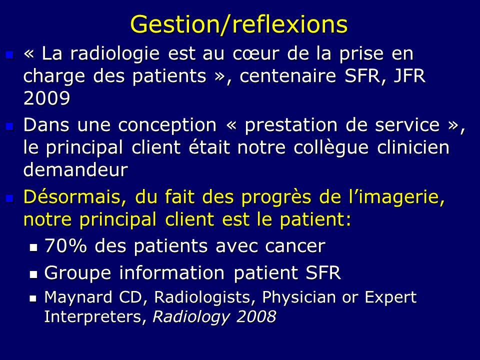 Gestion/reflexions « La radiologie est au cœur de la prise en charge des patients », centenaire SFR, JFR 2009 « La radiologie est au cœur de la prise