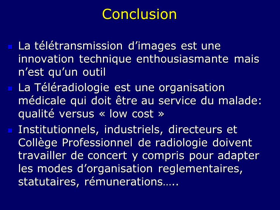 Conclusion La télétransmission dimages est une innovation technique enthousiasmante mais nest quun outil La télétransmission dimages est une innovatio