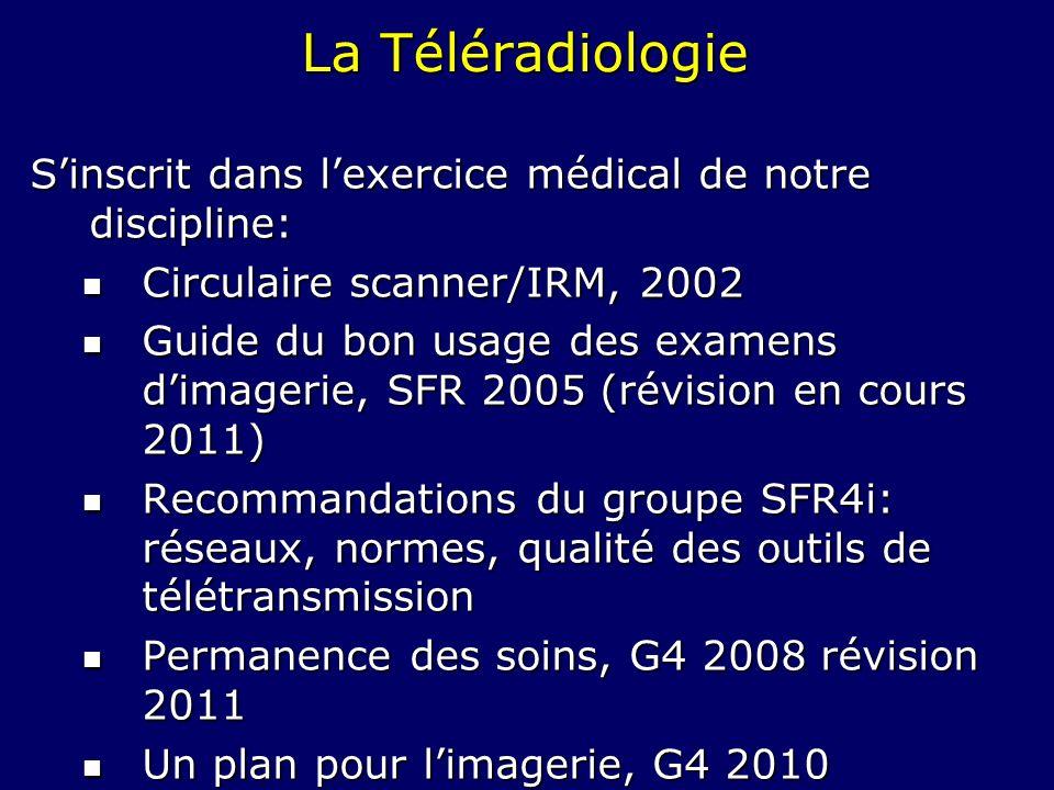 La Téléradiologie Sinscrit dans lexercice médical de notre discipline: Circulaire scanner/IRM, 2002 Circulaire scanner/IRM, 2002 Guide du bon usage de