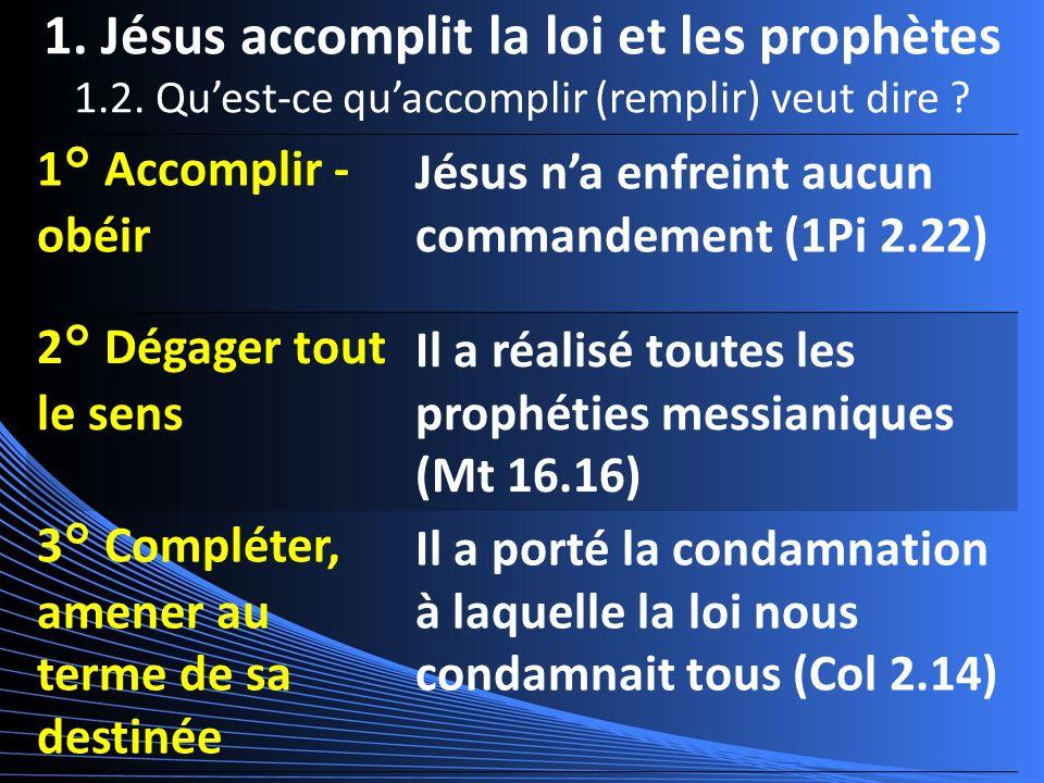 1. Jésus accomplit la loi et les prophètes 1.2. Quest-ce quaccomplir (remplir) veut dire .
