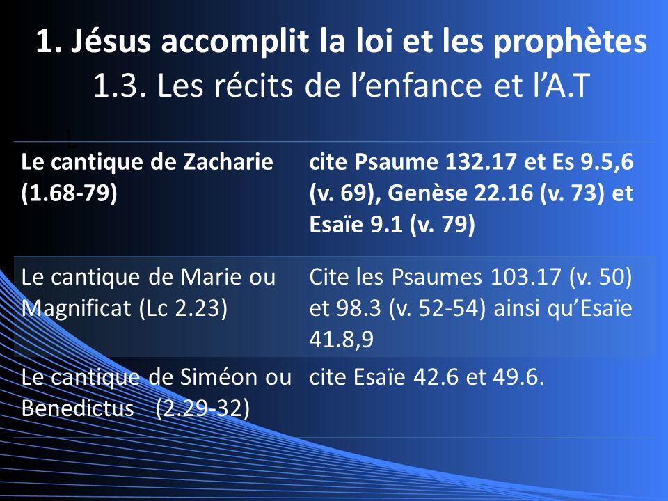 1. Jésus accomplit la loi et les prophètes 1.3.
