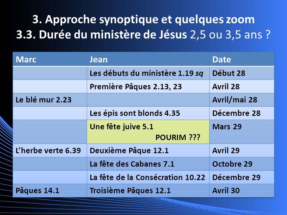 3. Approche synoptique et quelques zoom 3.3. Durée du ministère de Jésus 2,5 ou 3,5 ans ?