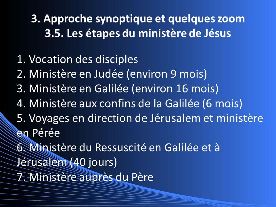 3. Approche synoptique et quelques zoom 3.5. Les étapes du ministère de Jésus L 1.