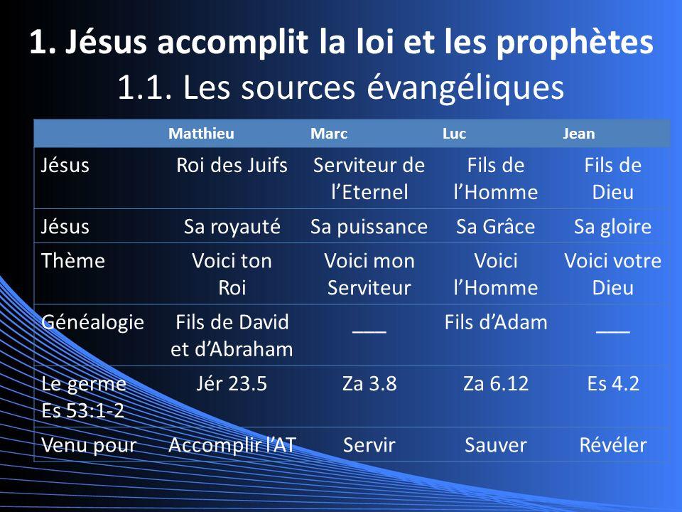 1. Jésus accomplit la loi et les prophètes 1.1.