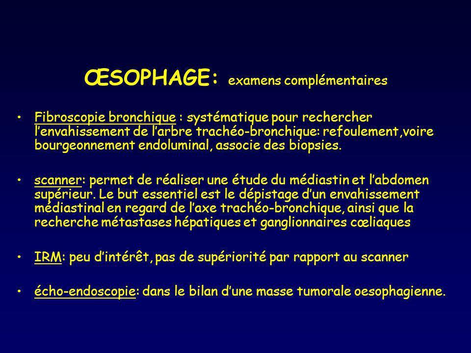 ŒSOPHAGE: examens complémentaires Fibroscopie bronchique : systématique pour rechercher lenvahissement de larbre trachéo-bronchique: refoulement,voire