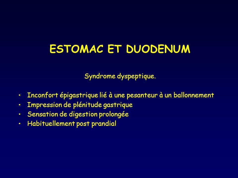 ESTOMAC ET DUODENUM Syndrome dyspeptique. Inconfort épigastrique lié à une pesanteur à un ballonnement Impression de plénitude gastrique Sensation de