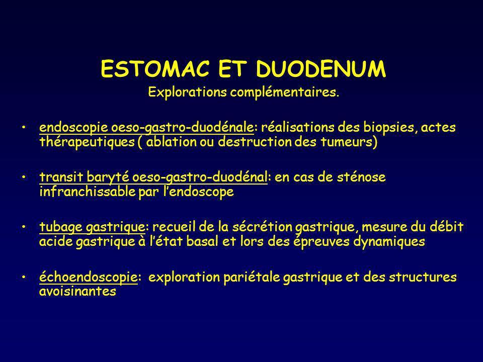 ESTOMAC ET DUODENUM Explorations complémentaires. endoscopie oeso-gastro-duodénale: réalisations des biopsies, actes thérapeutiques ( ablation ou dest