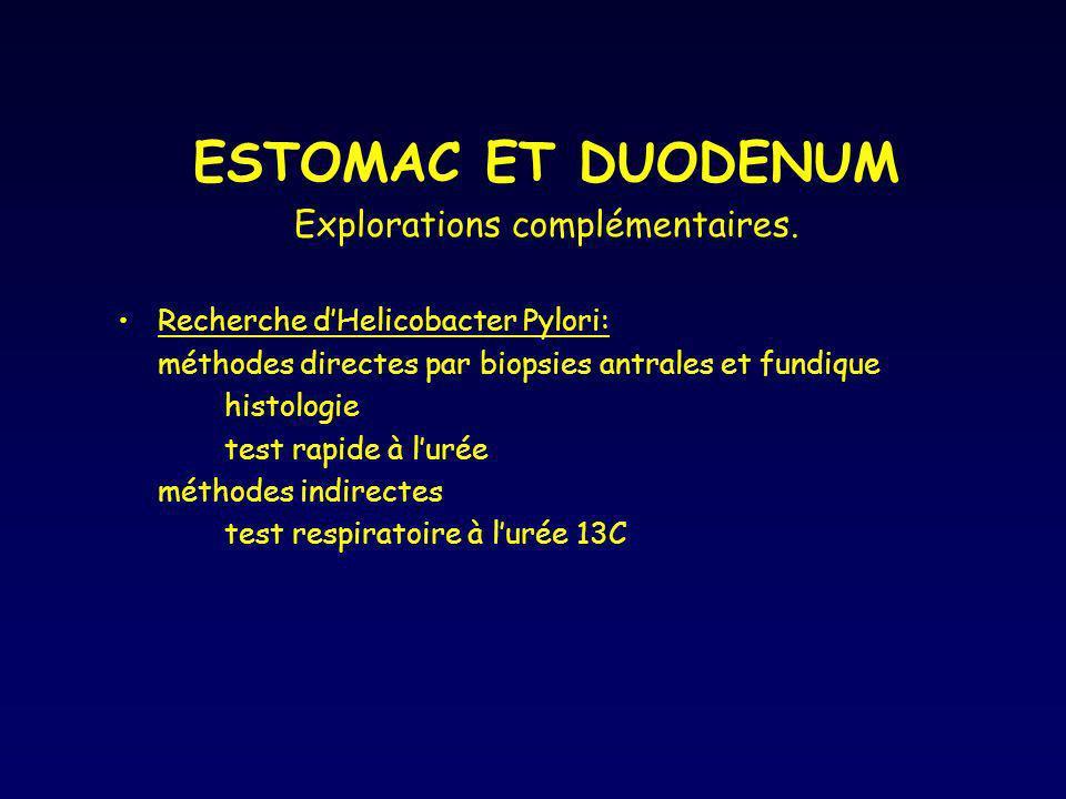 ESTOMAC ET DUODENUM Explorations complémentaires. Recherche dHelicobacter Pylori: méthodes directes par biopsies antrales et fundique histologie test
