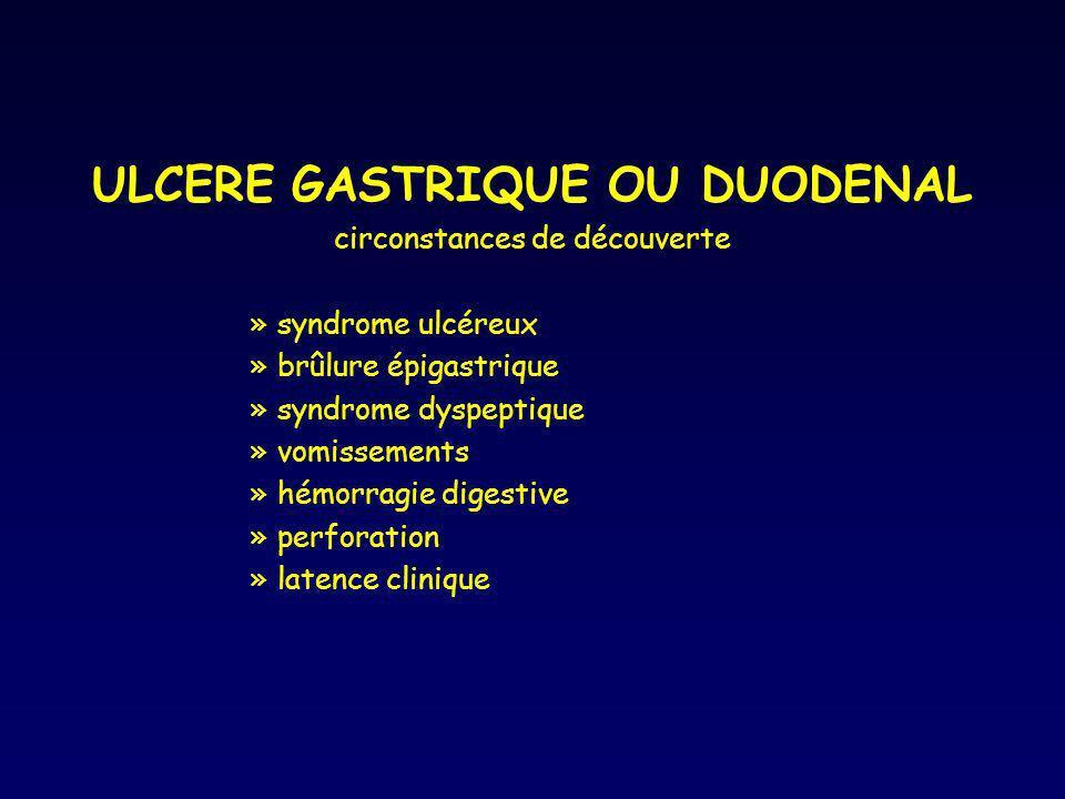 ULCERE GASTRIQUE OU DUODENAL circonstances de découverte »syndrome ulcéreux »brûlure épigastrique »syndrome dyspeptique »vomissements »hémorragie dige