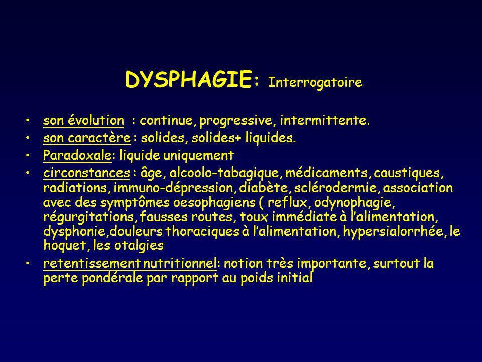 DYSPHAGIE : Interrogatoire son évolution : continue, progressive, intermittente. son caractère : solides, solides+ liquides. Paradoxale: liquide uniqu