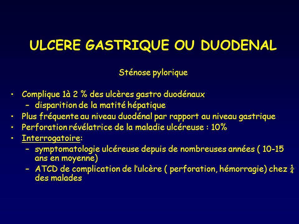 ULCERE GASTRIQUE OU DUODENAL Sténose pylorique Complique 1à 2 % des ulcères gastro duodénaux –disparition de la matité hépatique Plus fréquente au niv