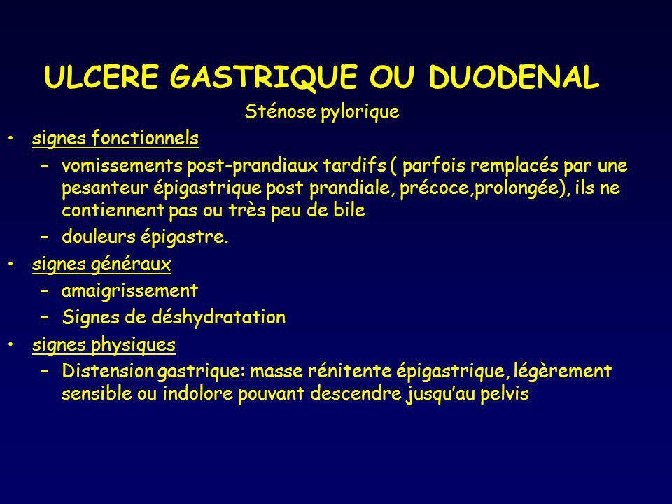 ULCERE GASTRIQUE OU DUODENAL Sténose pylorique signes fonctionnels –vomissements post-prandiaux tardifs ( parfois remplacés par une pesanteur épigastr