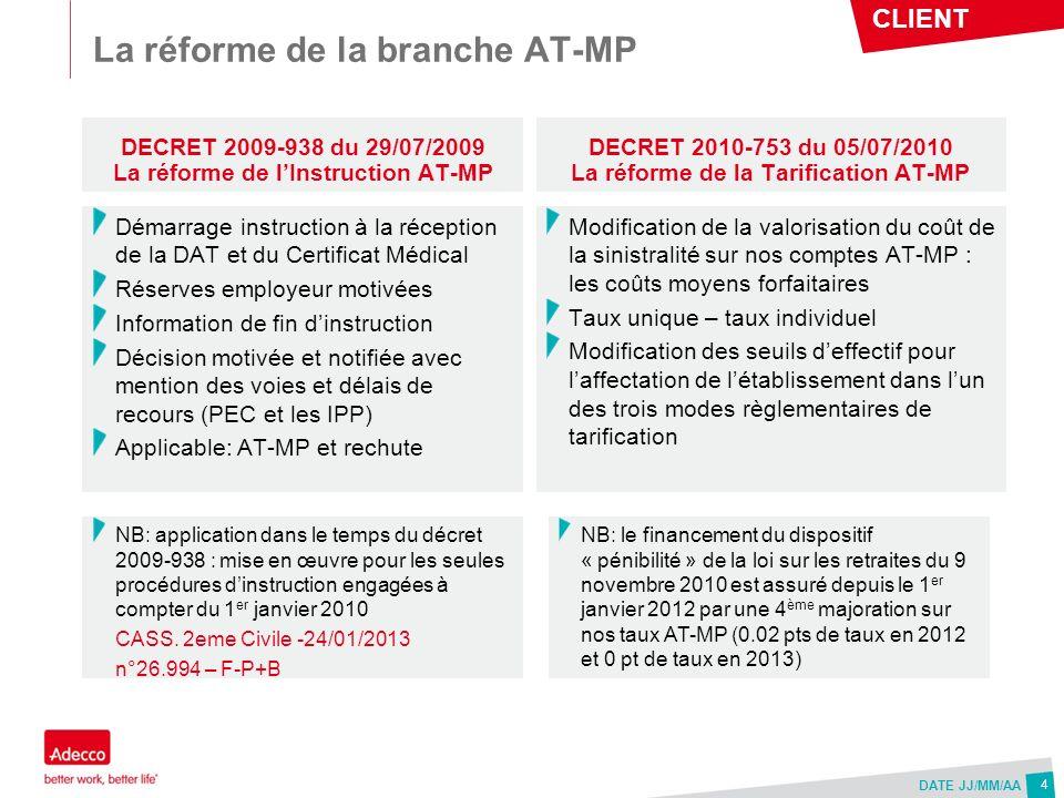 CLIENT DATE JJ/MM/AA La réforme de la branche AT-MP DECRET 2009-938 du 29/07/2009 La réforme de lInstruction AT-MP DECRET 2010-753 du 05/07/2010 La ré